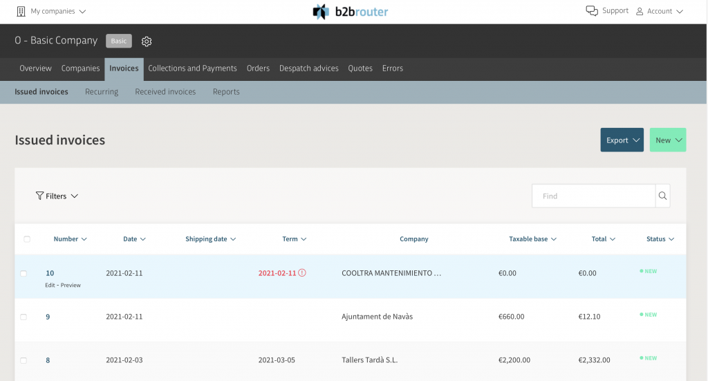 Invoice List B2Brouter