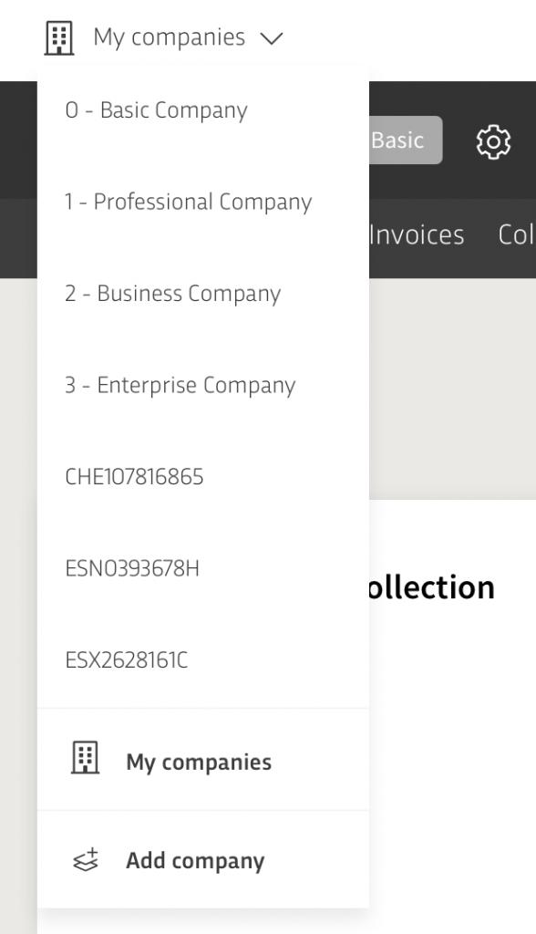 My companies Menu B2Brouter